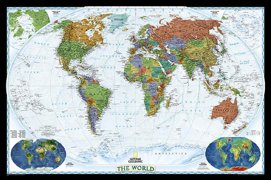 The Savvy Traveller - National Geographic Wall Maps: The World