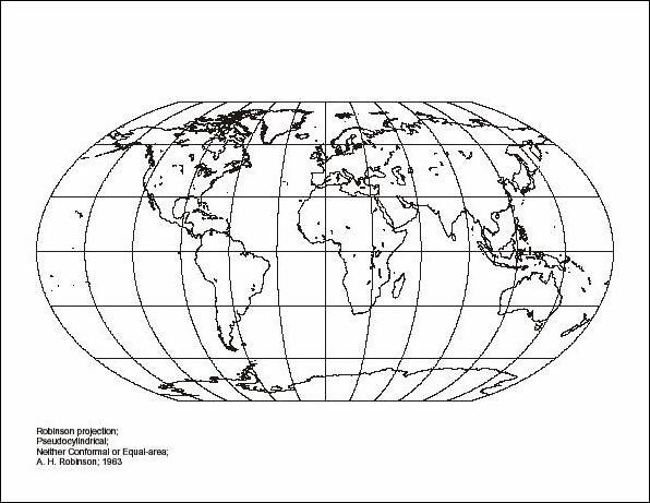 robinson projection map The world map with national borders, oceans and seas under the robinson projection english labeling illustration.